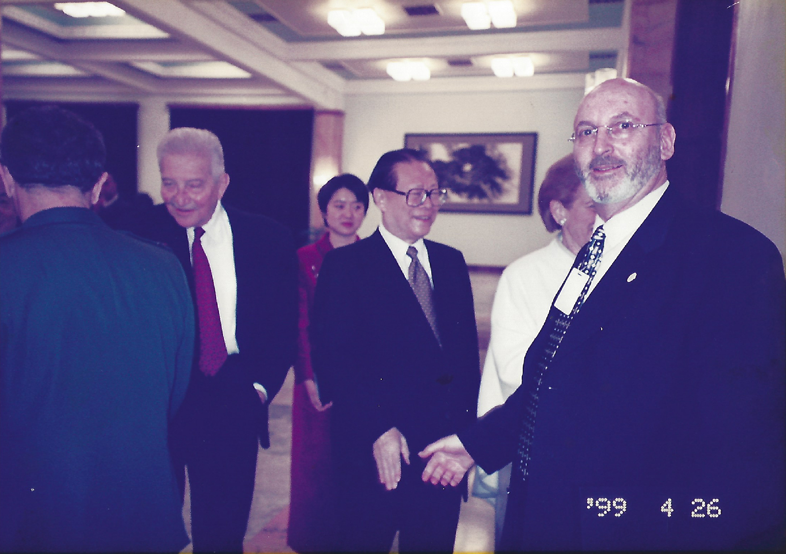 Haim Shafrir with Chinese and Israeli Presidents